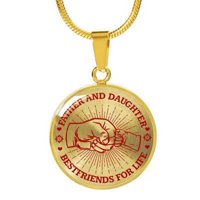 FATHER DAUGHTER FIST BUMP BEST FRIENDS - (RED ON TRANSPARENT) GOLD FINISHED CIRCLE NECKLACE - podprintz.com