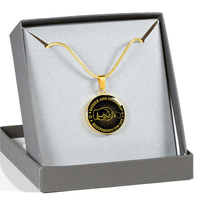 FATHER DAUGHTER FIST BUMP BEST FRIENDS - (GOLD TEXT) GOLD FINISHED CIRCLE NECKLACE - podprintz.com