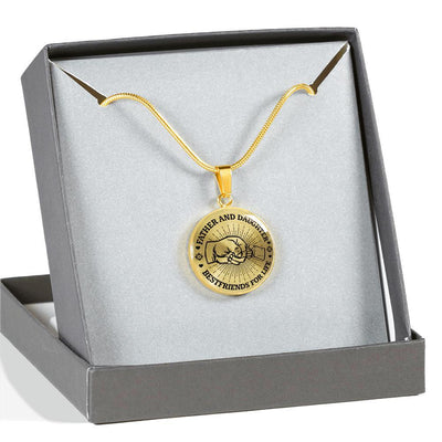 FATHER DAUGHTER FIST BUMP BEST FRIENDS - (BLACK ON TRANSPARENT) GOLD FINISHED CIRCLE NECKLACE - podprintz.com