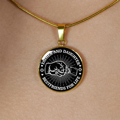 FATHER DAUGHTER FIST BUMP BEST FRIENDS - (BLACK & WHITE) GOLD FINISHED CIRCLE NECKLACE - podprintz.com