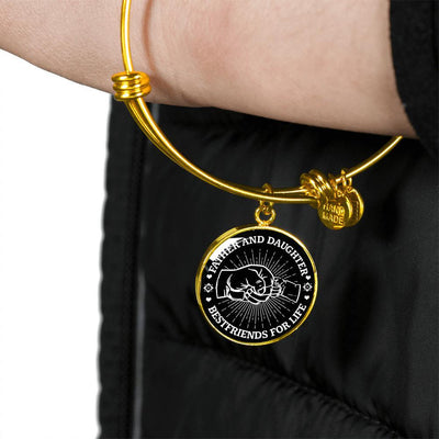 FATHER DAUGHTER FIST BUMP BEST FRIENDS - (BLACK & WHITE) GOLD FINISHED CIRCLE BANGLE BRACELET - podprintz.com
