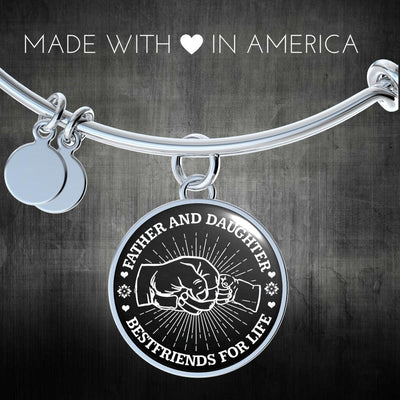 FATHER DAUGHTER FIST BUMP BEST FRIENDS - (BLACK & WHITE) SILVER FINISHED CIRCLE BANGLE BRACELET - podprintz.com