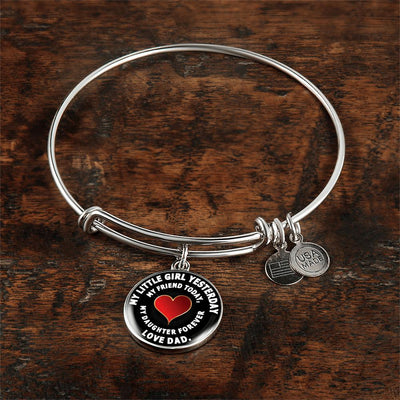 My Little Girl Forever, Love Dad (White Text) - Silver Finished Circle Bangle Bracelet - podprintz.com