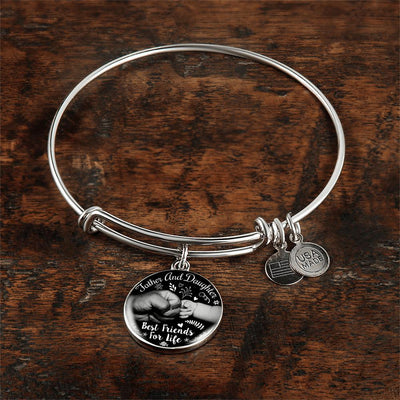 Father Daughter B&W Best Friends Fist Bump Silver Finished Circle Bangle Bracelet - podprintz.com