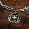 The Lord is my Strength and my Shield - Silver Finished Circle Bangle Bracelet - podprintz.com