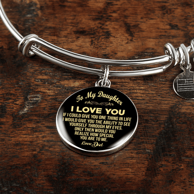 To My Daughter, One Thing, Love Dad (Yellow on Black) - Silver Finished Circle Bangle Bracelet - podprintz.com