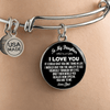 To My Daughter, One Thing, Love Dad (White on Black) - Silver Finished Circle Bangle Bracelet - podprintz.com