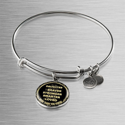 To My Daughter, Braver, Stronger, Loved - Silver Finished Circle Bangle Bracelet - podprintz.com