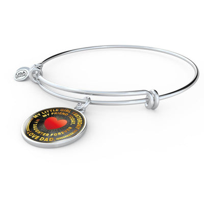 My Little Girl Forever, Love Dad (Yellow Text) - Silver Finished Circle Bangle Bracelet - podprintz.com