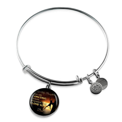 You Are Amazing Silhouette, Father Daughter, Silver Finished Circle Bangle Bracelet - podprintz.com