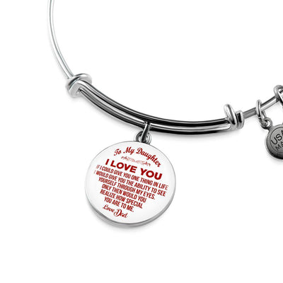 To My Daughter, One Thing, Love Dad (Red on White) - Silver Finished Heart Bangle Bracelet - podprintz.com