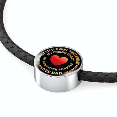 My Little Girl, Love Dad - Woven Double Braided Leather Bracelet - podprintz.com