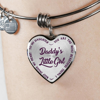 TO MY DAUGHTER - DADDY'S LITTLE GIRL - (PURPLE ON TRANSPARENT) SILVER OR GOLD FINISHED HEART BANGLE BRACELET - podprintz.com