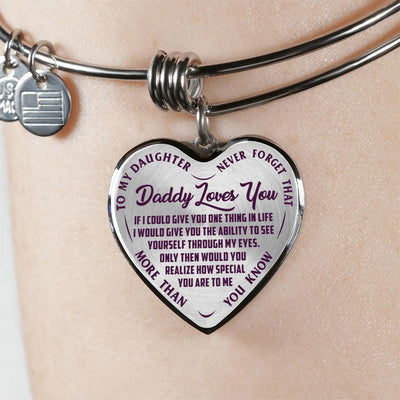 TO MY DAUGHTER - DADDY LOVES YOU NEVER FORGET THAT- (PURPLE ON TRANSPARENT) SILVER OR GOLD FINISHED HEART BANGLE BRACELET - podprintz.com