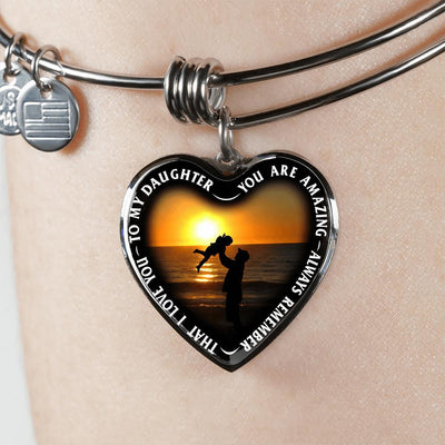 My Daughter, You are Amazing, Silver or Gold Finished Heart Shaped Bangle Bracelet (Beach at Dawn Edition) - podprintz.com