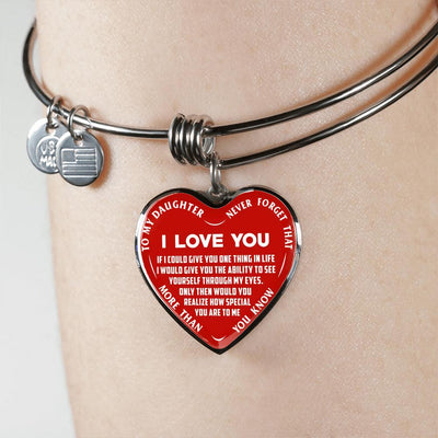 To My Daughter Never Forget Heart Shaped Lettering Bangle Bracelet (White on Red) - podprintz.com