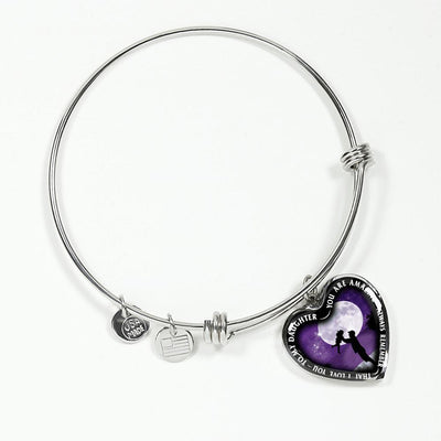 My Daughter, You are Amazing, Silver or Gold Finished Heart Shaped Bangle Bracelet (Purple Sky Moon Edition) - podprintz.com