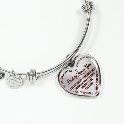 TO MY DAUGHTER, DADDY LOVES YOU - (DARK RED ON TRANSPARENT) SILVER FINISHED HEART BANGLE BRACELET - podprintz.com