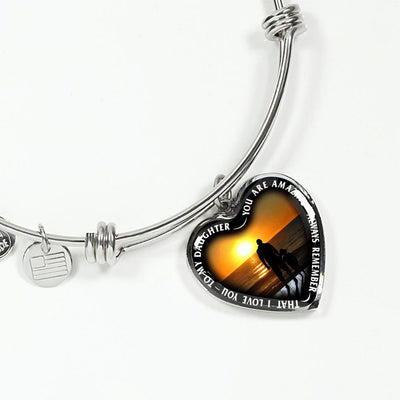 My Daughter, You are Amazing, Silver or Gold Finished Heart Shaped Bangle Bracelet (Sunset Beach Deck Edition) - podprintz.com