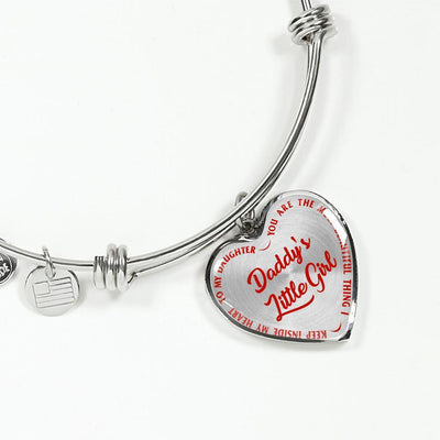 Daddy's Little Girl Gold or Silver Finished Heart Shaped Bangle Bracelet (Red on Transparent) - podprintz.com