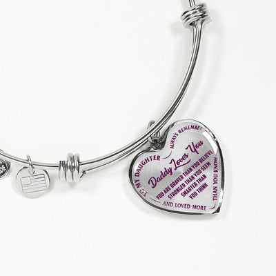 TO MY DAUGHTER, DADDY LOVES YOU - (PURPLE ON TRANSPARENT) SILVER FINISHED HEART BANGLE BRACELET - podprintz.com