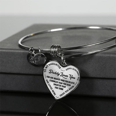 TO MY DAUGHTER - DADDY LOVES YOU - (BLACK ON TRANSPARENT) SILVER FINISHED HEART BANGLE BRACELET - podprintz.com