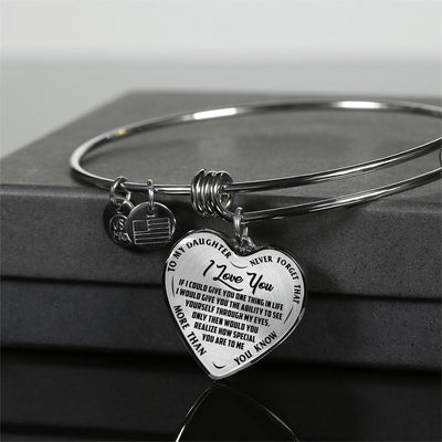 TO MY DAUGHTER - I LOVE YOU - (BLACK ON TRANSPARENT) SILVER OR GOLD FINISHED HEART BANGLE BRACELET - podprintz.com