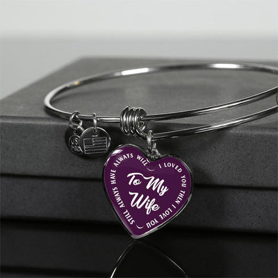 TO MY WIFE (WHITE TEXT ON PURPLE) SILVER OR GOLD FINISHED HEART SHAPED BANGLE BRACELET - podprintz.com