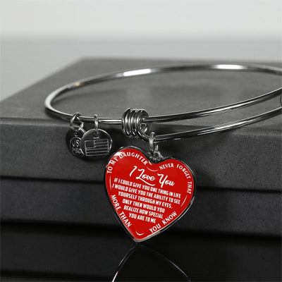 TO MY DAUGHTER - I LOVE YOU - (WHITE ON RED) SILVER OR GOLD FINISHED HEART BANGLE BRACELET - podprintz.com