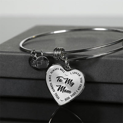 To My Mom Gold or Silver Finished Heart Shaped Bangle Bracelet (Black on Transparent) - podprintz.com