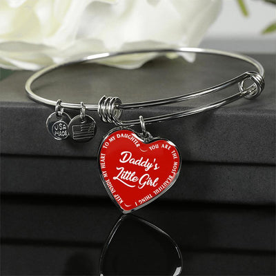 Daddy's Little Girl Gold or Silver Finished Heart Shaped Bangle Bracelet (White on Red) - podprintz.com