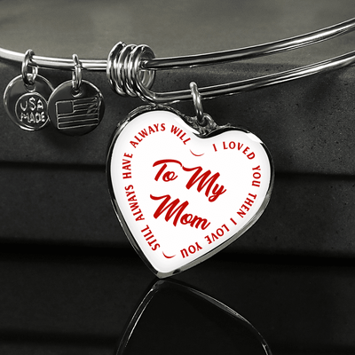 To My Mom Gold or Silver Finished Heart Shaped Bangle Bracelet (Red text on White) - podprintz.com