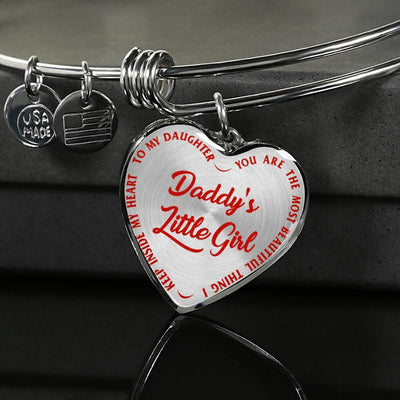 TO MY DAUGHTER - DADDY'S LITTLE GIRL - (RED ON TRANSPARENT) SILVER OR GOLD FINISHED HEART BANGLE BRACELET - podprintz.com