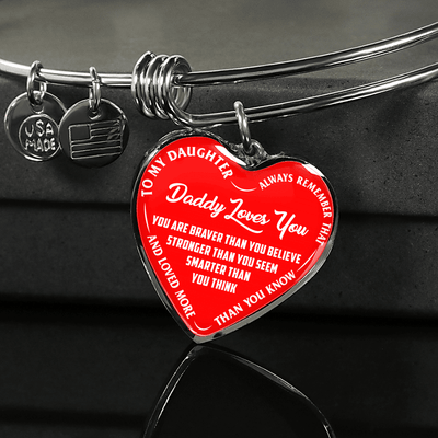TO MY DAUGHTER - DADDY LOVES YOU - (WHITE ON RED) SILVER OR GOLD FINISHED HEART BANGLE BRACELET - podprintz.com