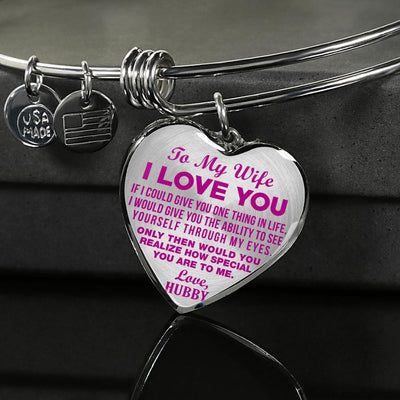 TO MY WIFE - I LOVE YOU - (HOT PINK ON TRANSPARENT) - SILVER FINISHED BANGLE BRACELET - podprintz.com