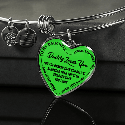 MY DAUGHTER, DADDY LOVES YOU - (LIME GREEN & BLACK TEXT) SILVER FINISHED HEART BANGLE BRACELET - podprintz.com