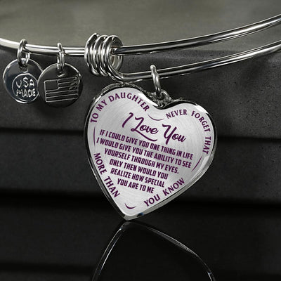TO MY DAUGHTER - I LOVE YOU - (PURPLE ON TRANSPARENT) SILVER OR GOLD FINISHED HEART BANGLE BRACELET - podprintz.com