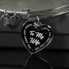 TO MY WIFE (WHITE TEXT ON BLACK) SILVER OR GOLD FINISHED HEART SHAPED BANGLE BRACELET - podprintz.com