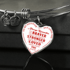 To Daughter Love Dad, Braver Stronger Loved Silver or Gold Finished Heart Shaped Bangle Bracelet (Red text on White) - podprintz.com