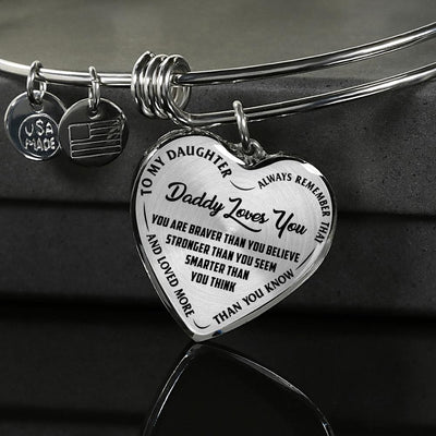 MY DAUGHTER, DADDY LOVES YOU - SILVER FINISHED HEART BANGLE BRACLET (BLACK ON TRANSPARENT) - podprintz.com