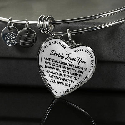 TO MY DAUGHTER, DADDY LOVES YOU - (BLACK ON TRANSPARENT) SILVER OR GOLD FINISHED HEART BANGLE BRACELET - podprintz.com