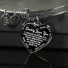 TO MY DAUGHTER - DADDY LOVES YOU NEVER FORGET THAT- (WHITE ON BLACK) SILVER OR GOLD FINISHED HEART BANGLE BRACELET - podprintz.com