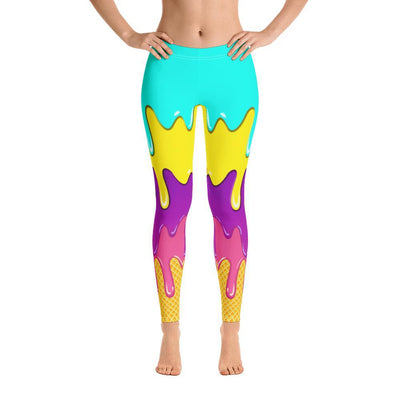 Melting Ice Cream Pattern Leggings - podprintz.com