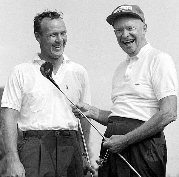 President Eisenhower, wearing a Lacoste in a golf game.