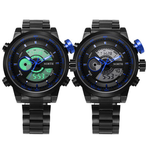 New Men Steel Bracelet Military Style Wristwatch