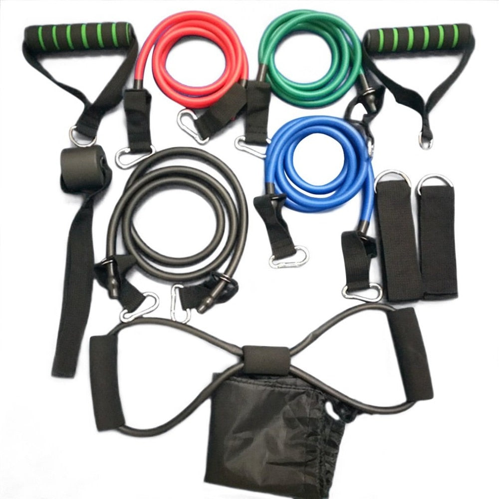 Exercise Fitness Resistance Bands and Chest Builder Travel Bag