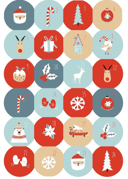 Glossy Christmas Countdown Advent Calendar Stickers