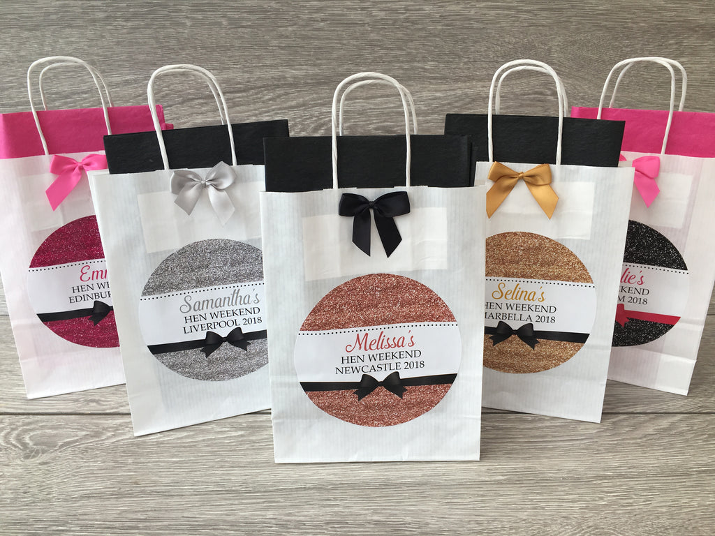 HEN PARTY BAG SILVER GLITTER EFFECT PERSONALISED BLACK EMPTY WITH TISSUE PAPER