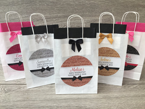 Personalised Handmade Hen Night Favour Gift Bag Glitter Effect