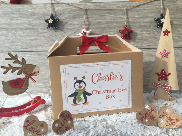 Personalised Handmade Christmas Eve Gift Box - Penguin